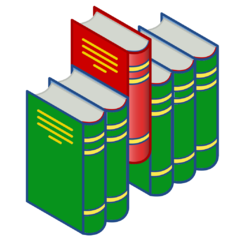 Bookshelf icon (red and green)